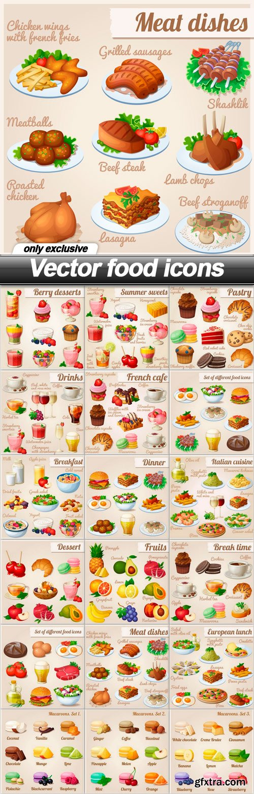 Vector food icons - 18 EPS