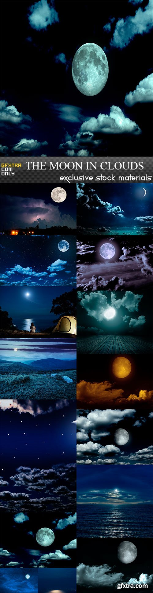 The moon in the night sky in clouds, 15 x UHQ JPEG