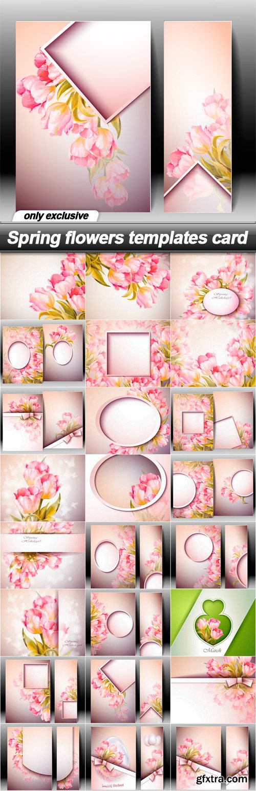 Spring flowers templates card - 24 EPS