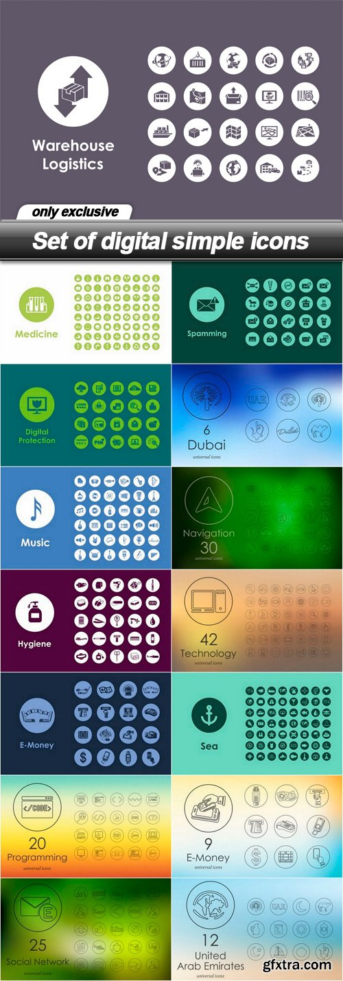 Set of digital simple icons - 15 EPS