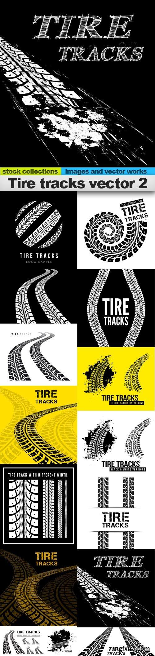 Tire tracks vector 2, 15 x EPS