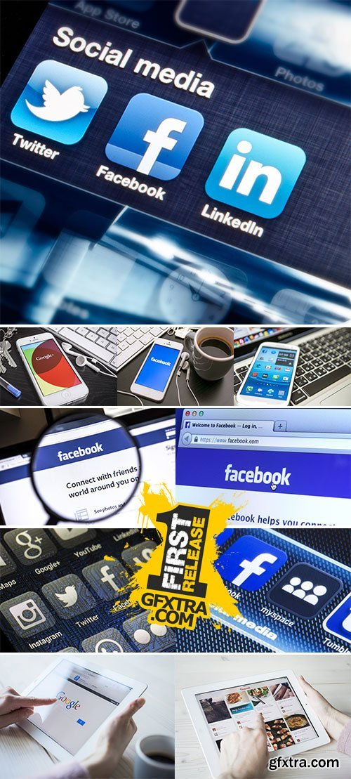 Stock Photo: Social media are trending and both business