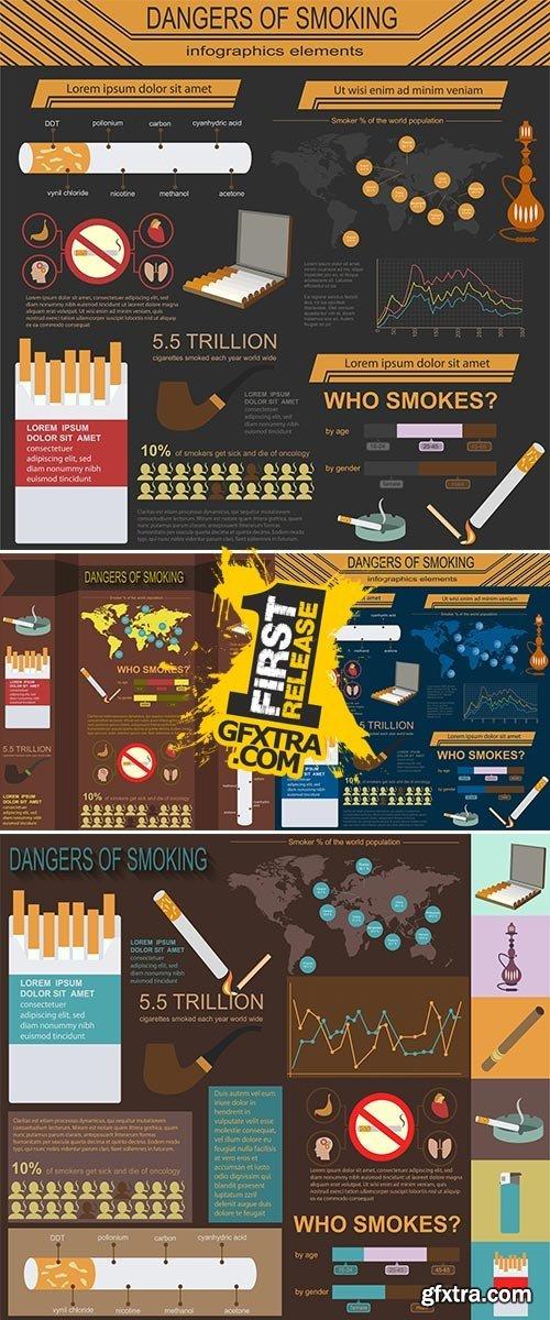 Stock: Dangers of smoking, infographics elements. Vector illustration