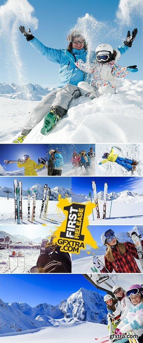 Stock Photo: Skiing, ski lift, ski resort - happy skiers on ski lift
