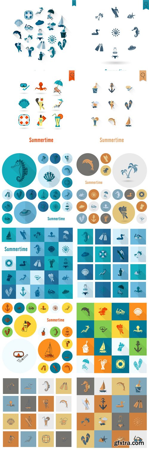 Summer and Beach Simple Flat Icons - Vectors A000017