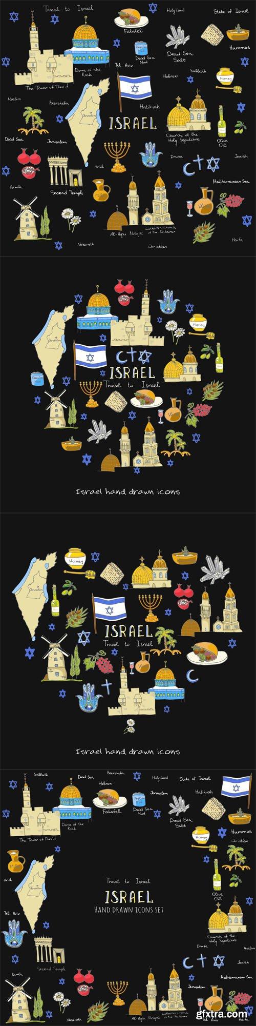 Set of hand drawn Israel icons - Vectors A000012
