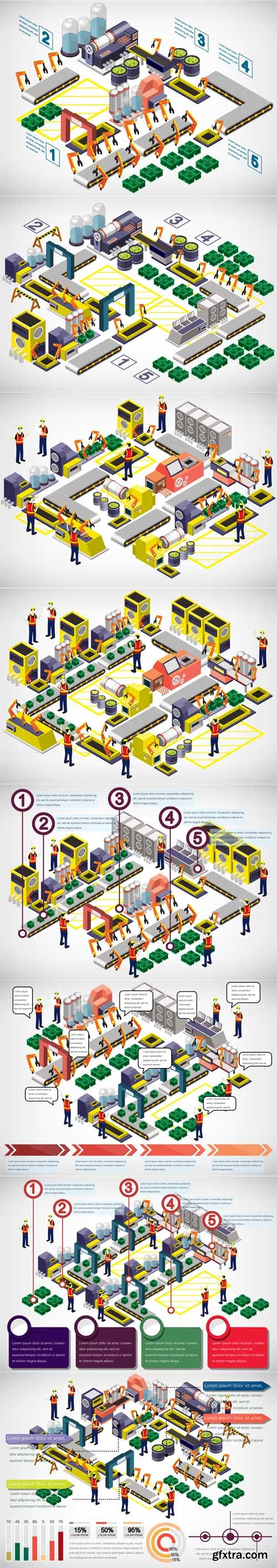 Illlustration of info graphic factory equipment concept - Vectors A000015