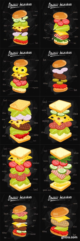 Sandwich, Burger Ingredients on Chalkboard - Vectors A000013
