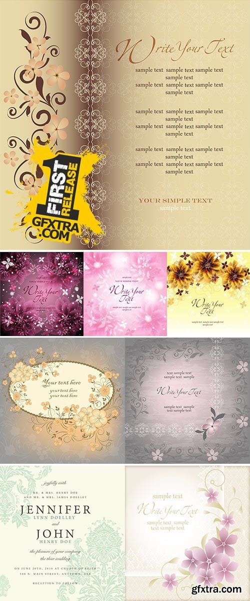 Stock: Wedding card or invitation with abstract floral background
