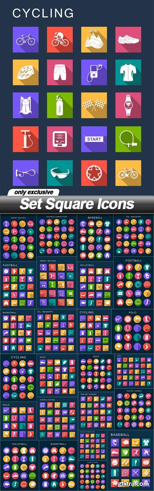 Set Square Icons - 25 EPS