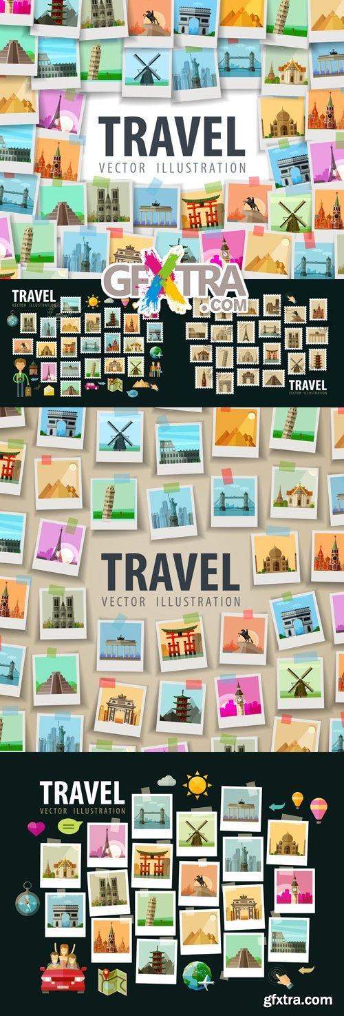 Travel Memories Cards Vector