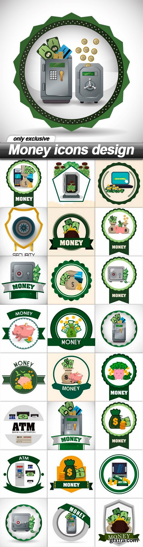 Money icons design - 25 EPS