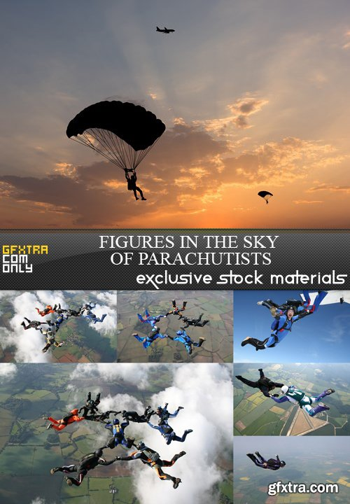 Figures in the Sky of Parachutists - 7 UHQ JPEG