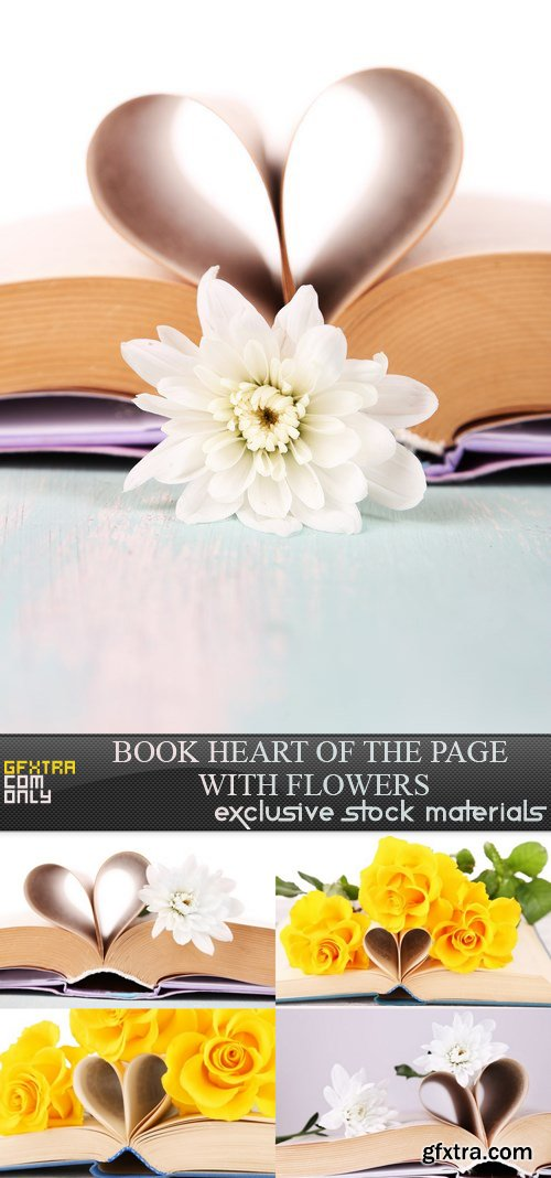 Book Heart of the Page with Flowers - 5 UHQ JPEG