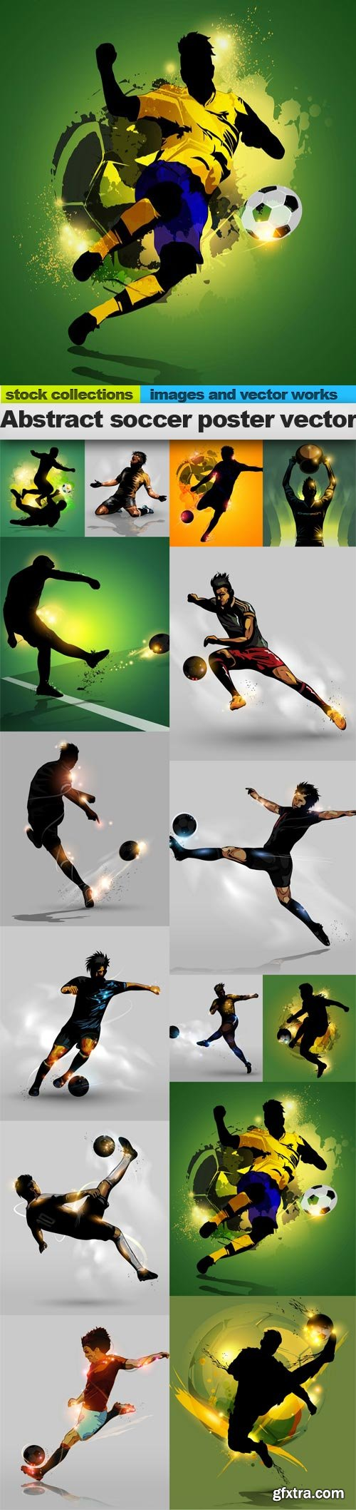 Abstract soccer poster vector, 15 x EPS