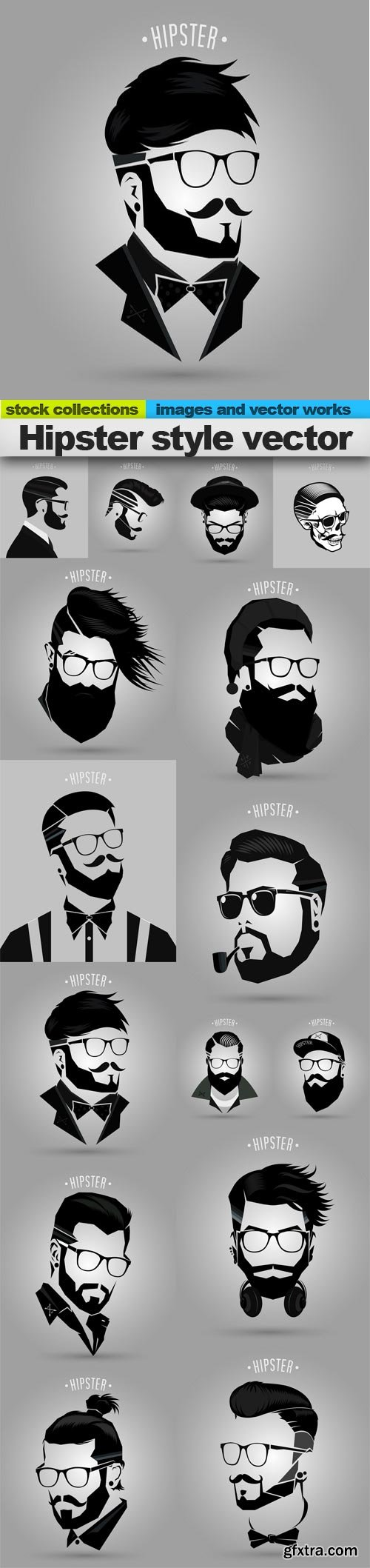 Hipster style vector, 15 x EPS
