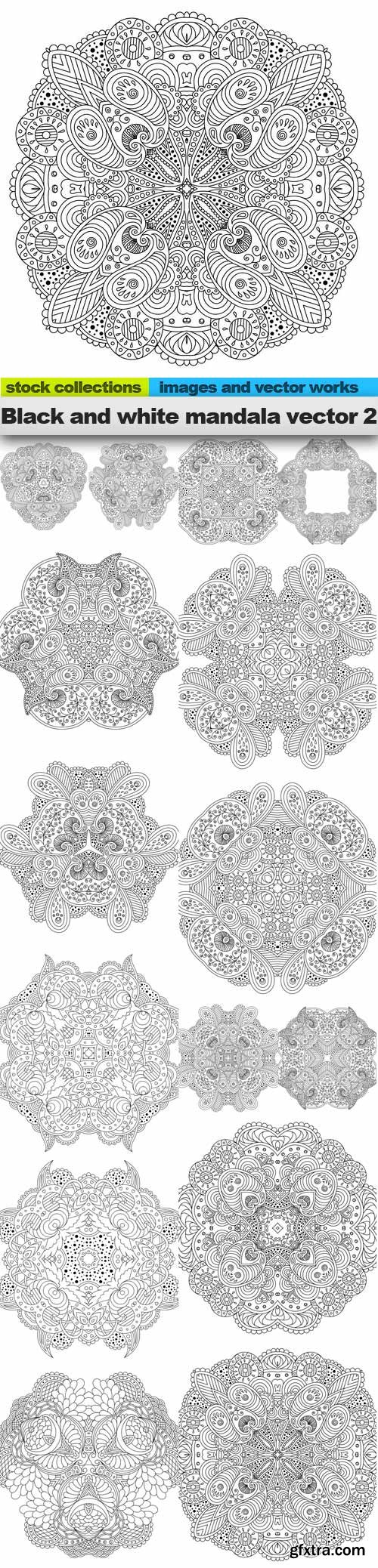 Black and white mandala vector 2, 15 x EPS