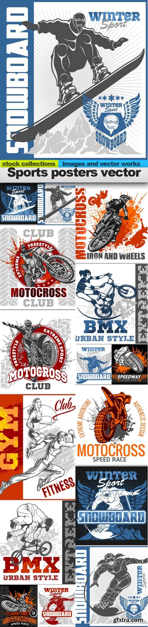 Sports posters vector, 15 x EPS