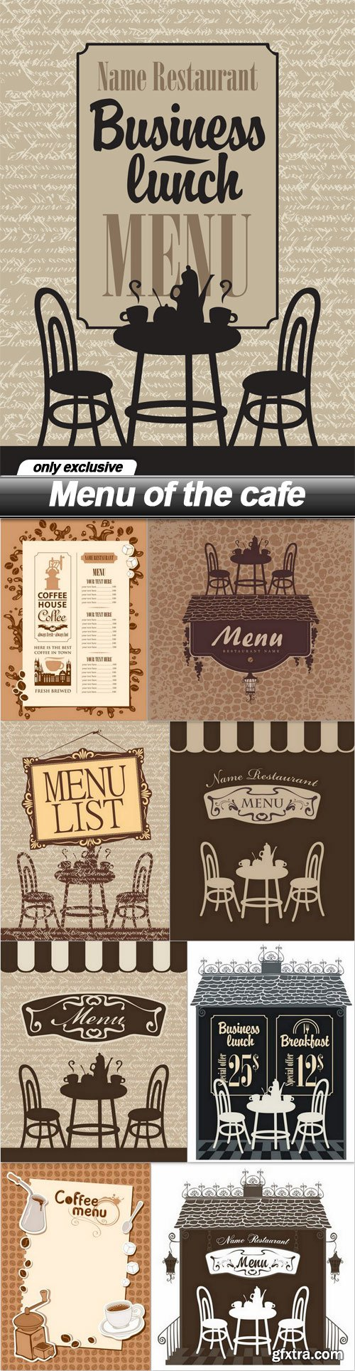 Menu of the cafe - 9 EPS