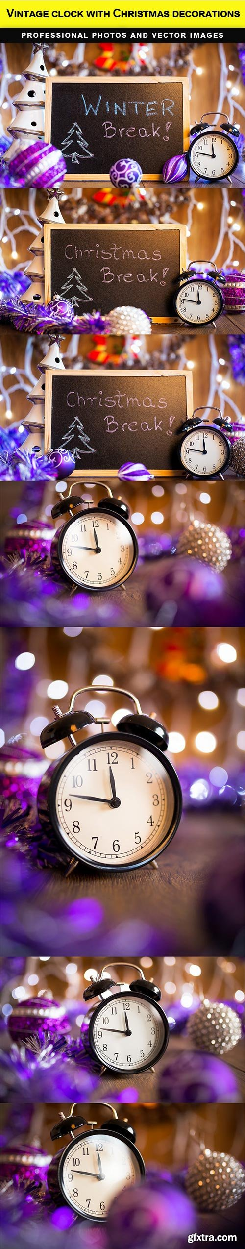 Vintage clock with Christmas decorations