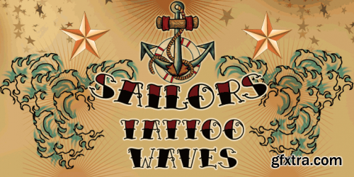 Sailors Tattoo Waves Font Family