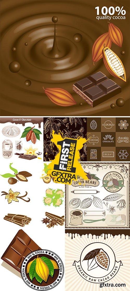 Stock Cacao beans vector