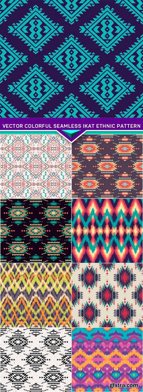 Vector colorful seamless ikat ethnic pattern 9x EPS