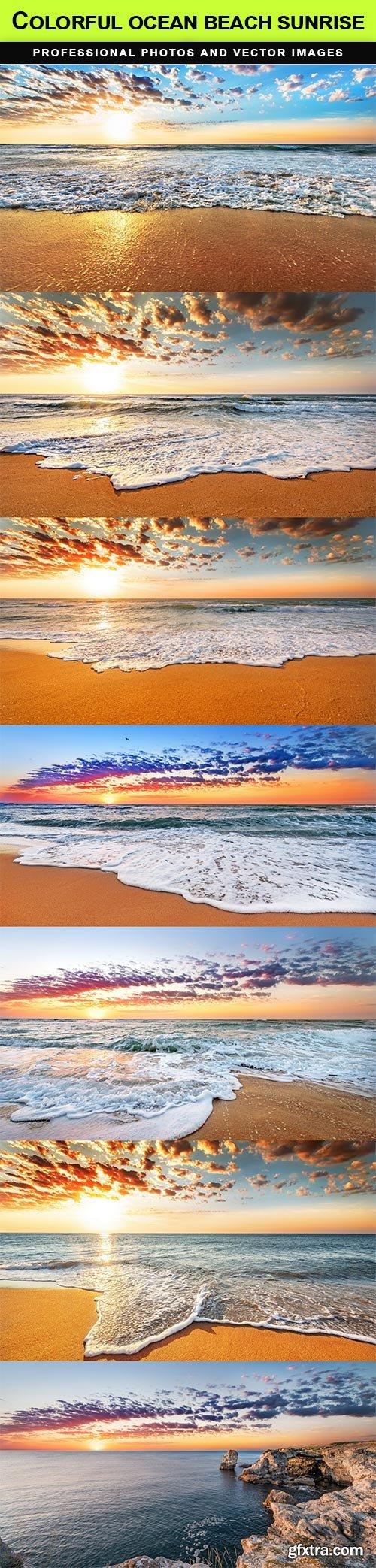 Colorful ocean beach sunrise