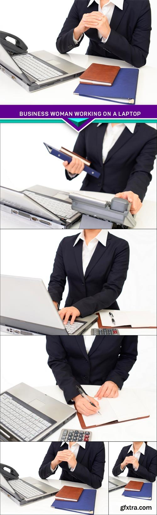 Business woman working on a laptop 5x JPEG
