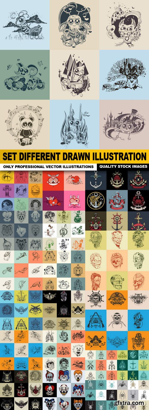 Set Different Drawn Illustration - 20 Vector