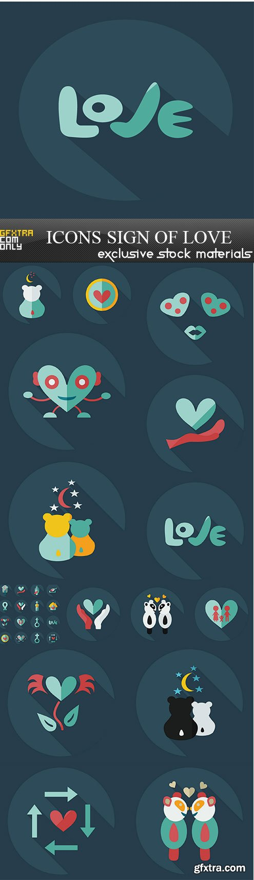 Flat modern design with shadow icons sign of love, 15 х EPS