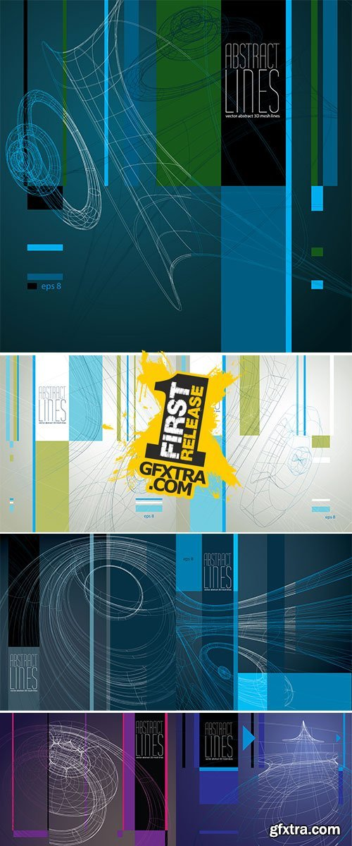 Stock: Abstract background, 3D abstract lines vector illustration