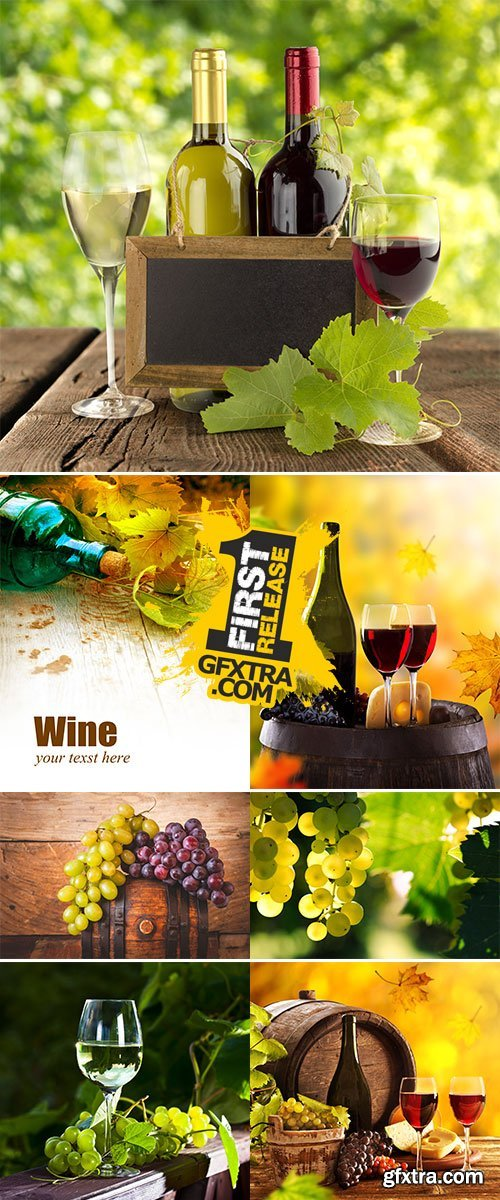 Stock Photo: Wine still-life, glass, young vine and bunch of grapes
