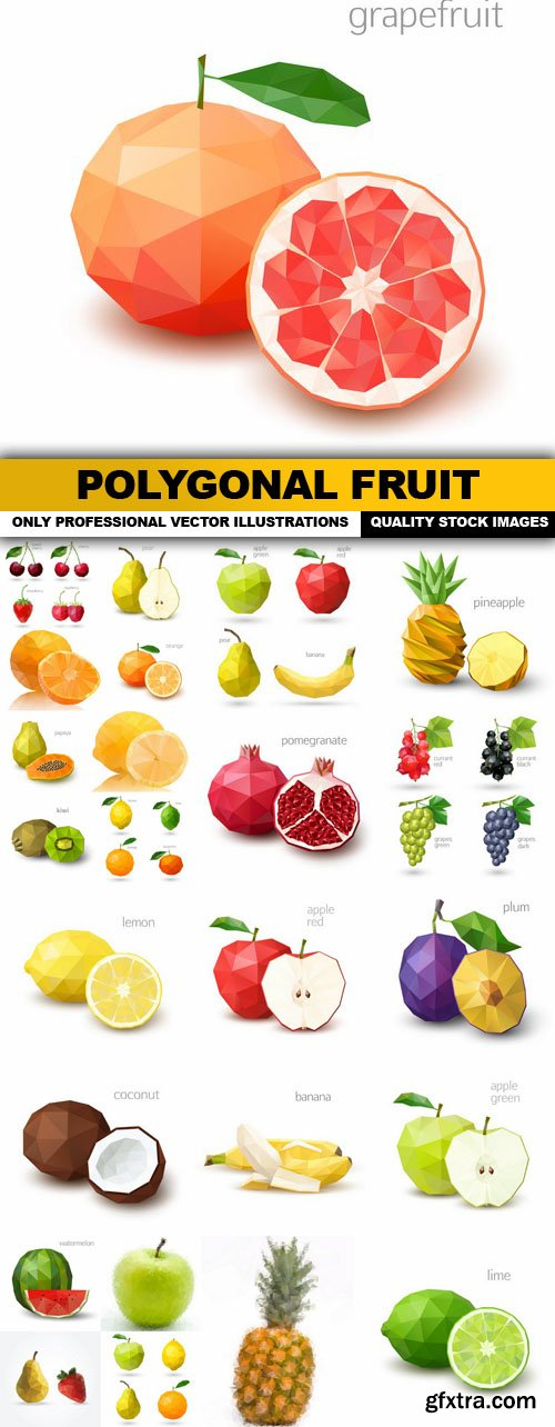 Polygonal Fruit - 25 Vector
