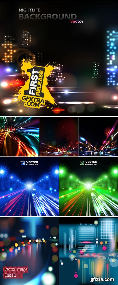 Stock: Vector background of the night city with blurred lights