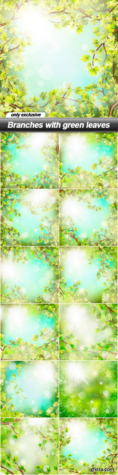 Branches with green leaves - 13 EPS