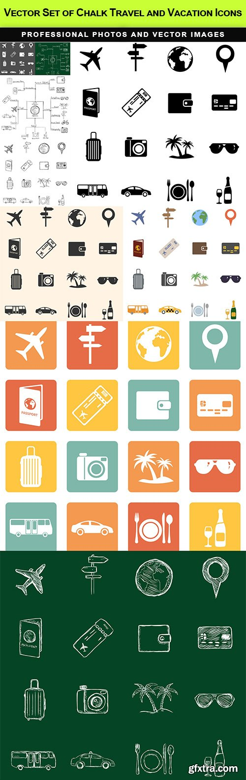 Vector Set of Chalk Travel and Vacation Icons
