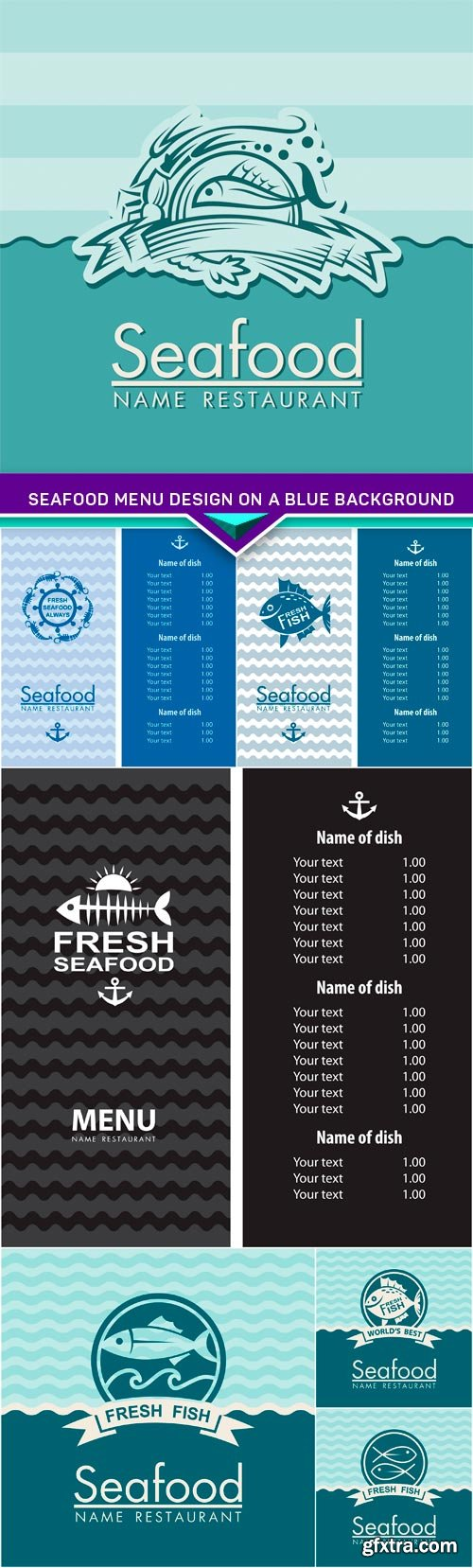 Seafood menu design on a blue background 7x EPS