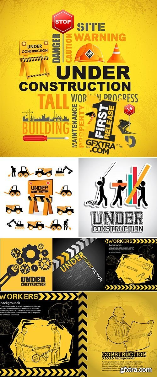 Stock Vector Illustration of Workers, under construction background