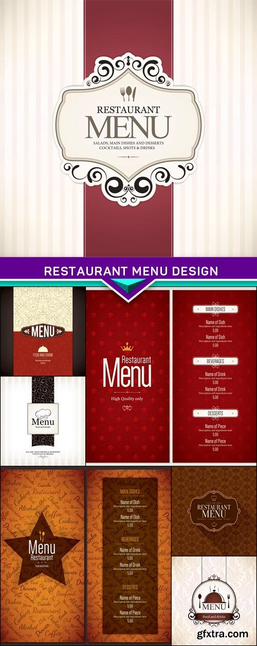 Restaurant menu design 7x EPS