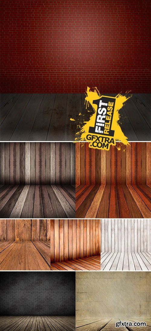 Stock Photo Wooden panel wall and floor interior background