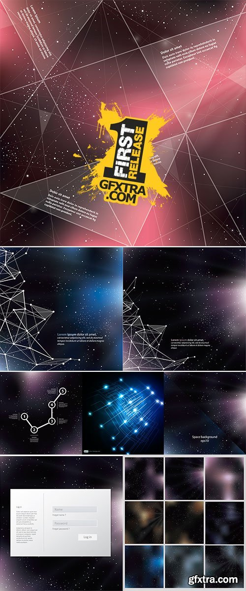 Stock vector Deep Space background with abstract lines and triangles, Universe template