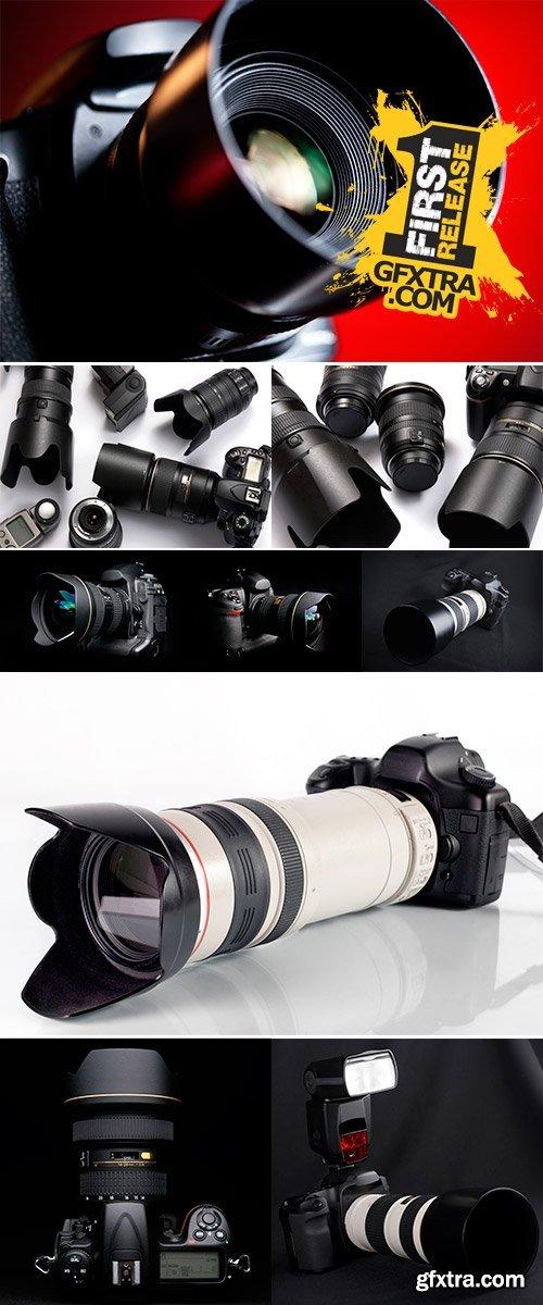 Stock Photo Professional digital photo camera with tele lenses