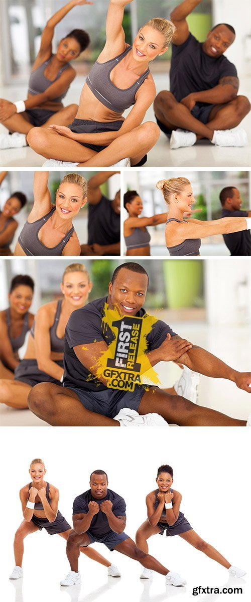 Stock Photo: Fit woman stretching with friends