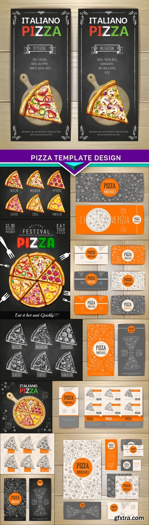 Pizza template design 12x EPS