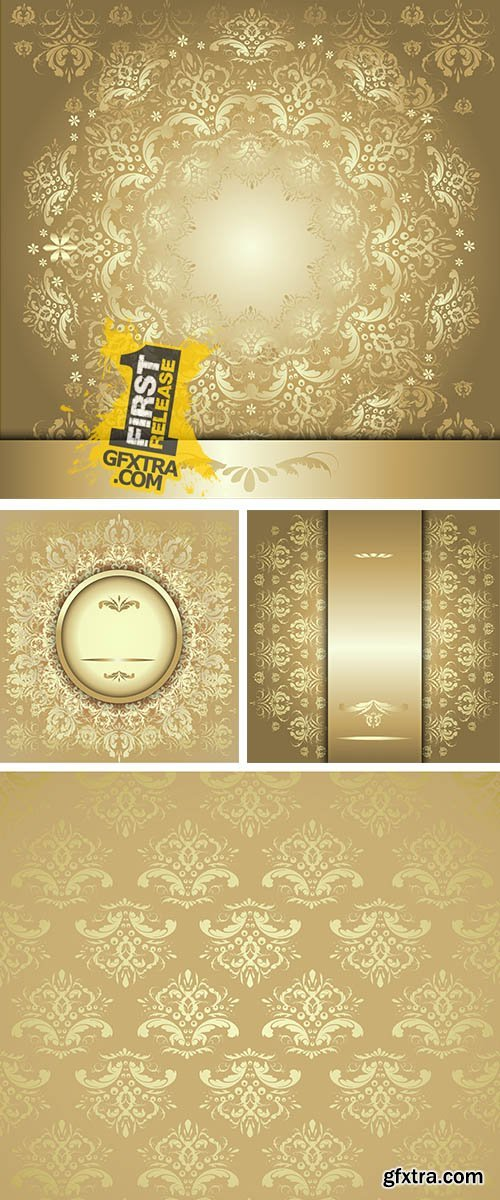Stock: Pattern with gold ribbon