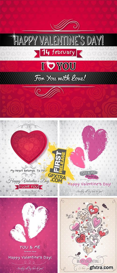 Stock: Pink background with two valentine