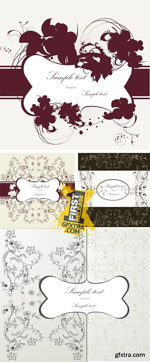 Stock: Floral background, greeting card