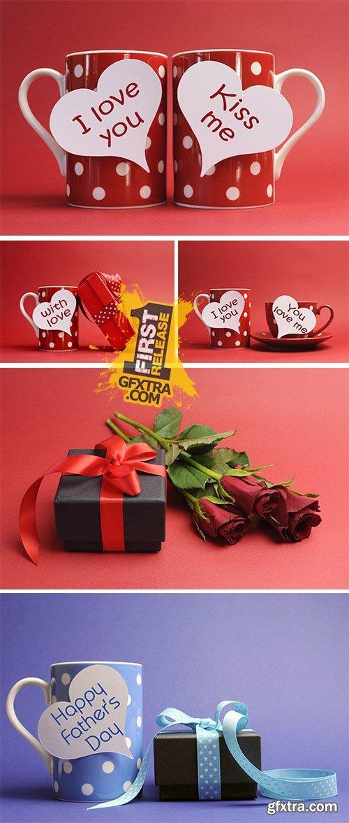 Stock Photo: Happy Valentines Day love theme gift
