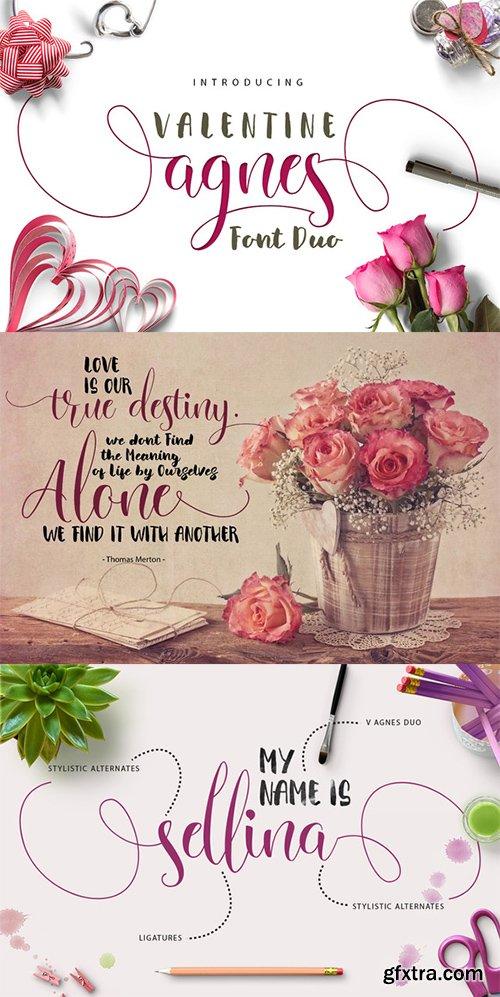Creativemarket Valentine Agnes FONT DUO 516237